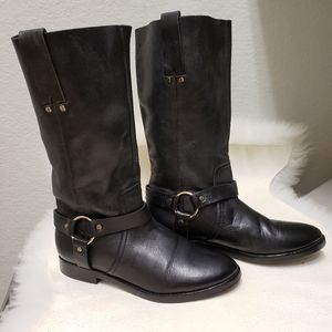 Joie Babson Black Soft Leather Size 37 Moto Boots